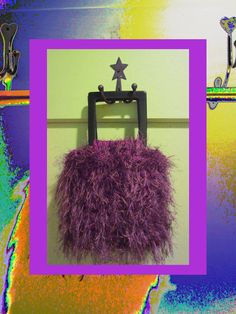 How Can You Resist?!? Oh So Funky And Colorful! Dark Purple Handbag Cotton & Fun Fur Acrylic by ArtisticFunk, $100.00    See the whole line here: http://www.etsy.com/shop/ArtisticFunk?section_id=11154857