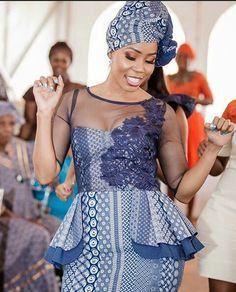 African sotho Shweshwe dresses for 2020 ⋆ African Wedding Attire, African Attire, African Wear, African Women, African Dress, African Weddings, African Fashion Designers, African Print Fashion, Africa Fashion
