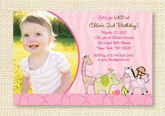 Pink Safari Girl Jungle Animal Printable Birthday Invitation