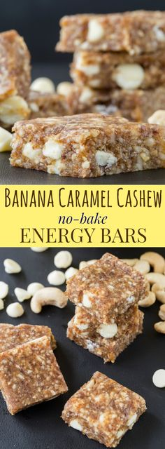 Banana Caramel Cashew No-Bake Energy Bars - only five ingredients in this healthy snack recipe that is gluten free, grain free, and can be made vegan.   cupcakesandkalechips.com