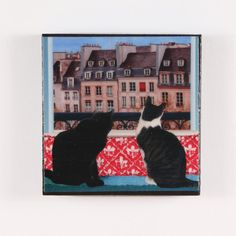 Cat Magnet Large 3 inch Square Paris Cats by DeborahJulian on Etsy, $10.00