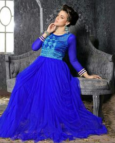 Royal Blue Net Party Wear Anarkali Suit ☆☆☆ fabricmode.com