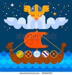 Viking ship under Odin's control. Vector flat illustration, no transparencies.