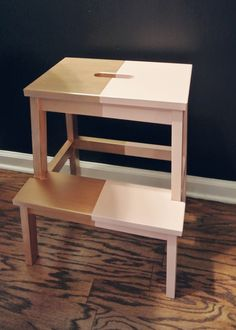 Little Baby Garvin- step stool from ikea painted two toned Living Room Chairs, Home Living Room, Bekvam Stool, Ikea Step Stool, Little Baby Garvin, Ikea Paint, Stool Makeover, Ikea Kids, Mid Century Dining Chairs