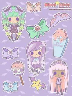 New Creepy Candy stickers Pastel Goth Art, Pastel Goth Outfits, Candy Gore, Lisa Frank Stickers, Kawaii Tattoo, Creepy Cute, Cute Comics, Kawaii Art, Manga Drawing