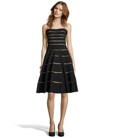 black and nude stretch jersey strapless banded cocktail dress