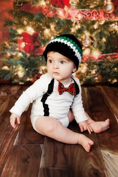 Baby Boy Bowtie Onesie or Shirt with Suspenders and Crocheted Hat - Christmas Holiday