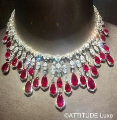 Sumptuous necklace diamond with beautiful Burmese rubies. by Jeremy Morris for the jewellery House London David Morris. @davidmorrisjeweller #attitudeluxemagazine