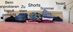 """Sonntagsarbeit: Kleiderschrank ausräumen und Sommersachen wegräumen und sich dabei fragen ob man wirklich 56 Paar Hosen braucht? Fazit: 3 Hosen für den Kleidersack, 5 auf den hoffnungsvollen Stapel """"passen in 5kg schon wieder!"""", 19 Sommerhosen zum überwintern, eine Hose zum """"flicken"""": beim anprobieren ist tatsächlich der Henkel ausgerissen, wohl auch ein Kandidat für den hoffnungsvollen Stapel - und 18 Hosen, die zu meiner Figur und der Jahreszeit passen wieder schön in den Schrank…"""