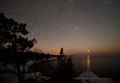 Planets Venus and Jupiter over Eagle Harbor MI- sERIOUSLY had no idea there were so many stars until I came here. Changed my life forever