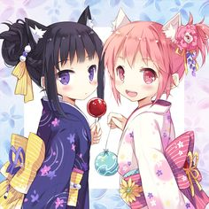 2girls akemi_homura alternate_costume alternate_hairstyle animal_ears black_hair blush candy_apple cat_ears flower hair_bun hair_flower hair_ornament japanese_clothes kaname_madoka kemonomimi_mode kimono mahou_shoujo_madoka_magica multiple_girls nyanya open_mouth pink_eyes pink_hair ponytail purple_eyes smile