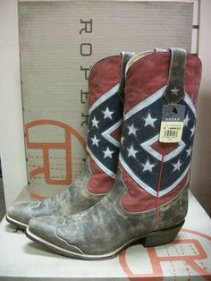 Men's Roper Rebel Flag Snip or Square Toe Boot