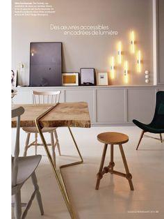 CHEZ MARIE SIXTINE - sandrine place & Baptiste Legué - appartement paris cabane interieure mobilier bois mobilier laiton table terrazzo salle de bain