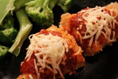 Healthy oven-baked chicken parmesan.  Recipe video:  http://youtu.be/WcNepcoPYmA