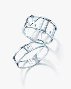 For an iconic summer, Atlas® bangles in sterling silver. #TiffanyPinterest #bracelets #silverjewelry