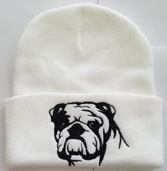 English Bulldog Knit Ski Hat, click or dial 1-844-446-4DOG for bulldog hats, shirts, and supplies that donate to help feed shelter dogs in the USA.