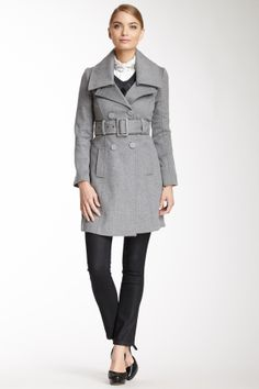 Blanc Noir Runway New York Double Breasted Button Wool Blend Coat on HauteLook