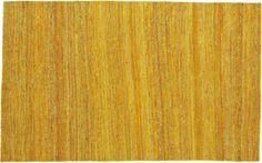 handwoven recycled yellow silk rug  | CB2