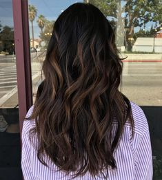 60 Chocolate Brown Hair Color Ideas for Brunettes - Black Hair with Matte Brown Balayage - Black Hair Dyed Brown, Black Hair Ombre, Brown Hair Looks, Black Hair With Highlights, Hair Color For Black Hair, Ombre Hair, Dark Hair, Ombre Brown, Asian Hair Highlights Straight
