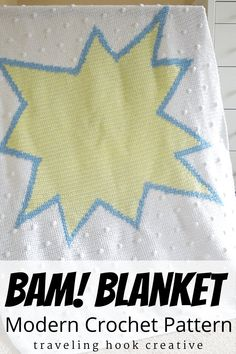Visually simplified pow sign baby blanket, perfect for a superhero nursery or comic book theme nursery. This blanket is gender neutral, but you can easily change the colors or use for boy or girl. Use intarsia or tapestry crochet for the color changes, and simple bobbles allude to half tone without being too distracting. Pattern includes written block instructions and 2 sizes of visual graphs. Nursery Themes, Nursery Decor, Comic Book Nursery, Modern Crochet Patterns, Tapestry Crochet, Book Themes, Baby Hats, Crochet Baby, Boy Or Girl