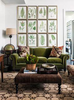 Tribeca apartment of Mario Grauso & Brood designer Srkan Serier. Via Harper's Bazaar. Photography Nicholas Koenig. fern, living rooms, frame, couch, galleri, botanical prints, green, gallery walls, velvet