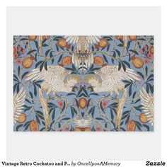Vintage Retro Cockatoo and Pomegranate Pattern Wrapping Paper Sheets