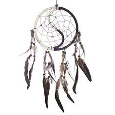 "Dream Catcher ~ Handmade Traditional Black & White Yin & Yang 6.5"" Diameter & 16"" Long"