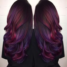 Dark Brown Hair with Purple and Deep Red Highlights