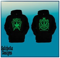 Indica & Sativa Couple Hoodie Marijuana Weed Leaf by Salobeta