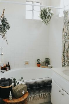 relaxing shower and bath with plants