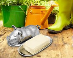 Large Pig Butter Dish BEST SELLER!! Impress your guests and show some style by serving your butter out of this large Pig Butter Dish by Arthur Court.The handmade designer, aluminum dish comes apart wh