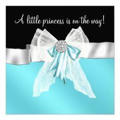 Black Teal Blue Bow Princess Baby Shower Invite