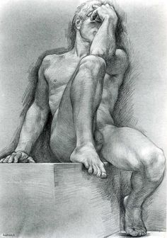 drawpaintprint:    Paul Cadmus: Nude Male (1955) Crayon on toned paper
