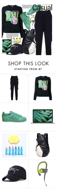 """""""Casual"""" by beebeely-look ❤ liked on Polyvore featuring Kenzo, adidas, MAC Cosmetics, casual, casuallook, baseballcap, blackoutfit and rosegal"""