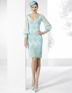 Magbridal Wonderful Tulle & Chiffon V-neck Neckline Short Sheath Mother Of The Bride Dresses With Lace Appliques Ball Dresses, Ball Gowns, Short Dresses, Robes D'occasion, Bridal Dresses Online, Dress Online, Unconventional Wedding Dress, Mothers Dresses, Occasion Dresses