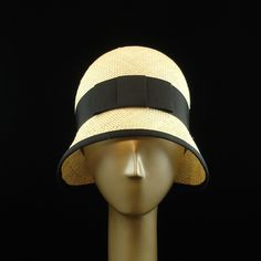 Cloche Hat for Women 1920s Fashion Hat Natural Straw Hat w Black Ribbon