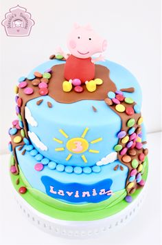 Peppa Pig Birthday Cake-10' and 8' chocolate cake with Smarties.