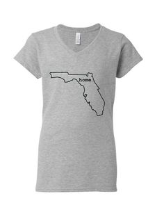 Women's Florida Home fitted v-neck shirt.