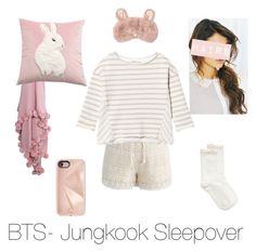 """BTS- Jungkook Sleepover"" by zucca0 on Polyvore featuring Hue, Chicwish and Rebecca Minkoff"