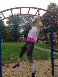 Playground workout! Slide pushups, bench jumps, monkey bars, raised leg push ups, knee ups, pull ups