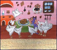 Mexican Exvoto retablo ex voto Chickens Ghosts