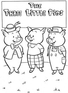 Three little pigs Preschool Coloring Pages, Coloring Book Pages, Coloring Pages For Kids, Preschool Writing, Preschool Activities, Three Little Pigs Story, Colors For Toddlers, Pig Crafts, Art Drawings For Kids