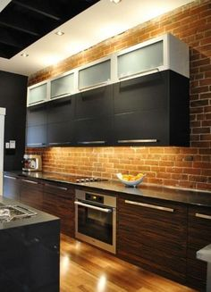 exposed brick kitchen backsplash