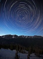 Star trails, Mummy Range, Rocky Mountain National Park, Colorado, night, stars, mountains