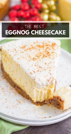 Eggnog Cheesecake is rich, creamy, and so easy to make. With a crispy gingersnap crust and cozy flavors, this dessert is perfect for the holiday season! #eggnog #eggnogcheesecake #eggnogrecipe #cheesecake #cheesecakerecipe #holidayrecipe #christmasdessert #holidaydessert