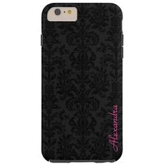 Black & Dark Gray Vintage Floral Damasks Tough iPhone 6 Plus Case  | Visit the Zazzle Site for More: http://www.zazzle.com/?rf=238228028496470081 [Referral Link]