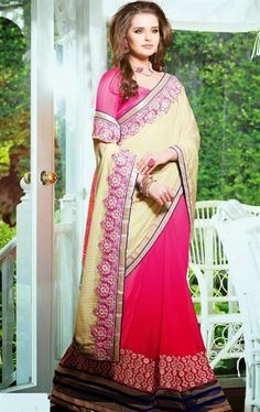 Beautiful Beige and Pink Color Awesome Saree