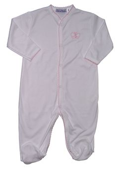 94aedb6cb8cc66 Footie in white with pink trim and butterfly. Made of 100% pima cotton.