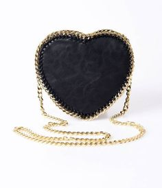 A magnificent vintage inspired handbag crafted in a black leatherette with  dazzling gold chain trim. Heart shaped with a rigid structure and a outer  zipper ... 5125493b6507d