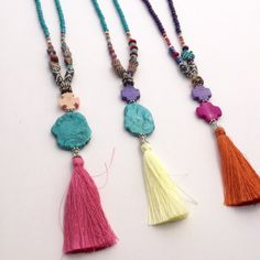 Etsy の Long Tassel Necklace Colorful Boho Necklace by BohoCircus